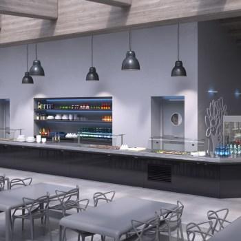 render o rendering 3d di una cucina self-service catering in acciaio inox (Art Serf Srl, Vazzola, Conegliano, Treviso)