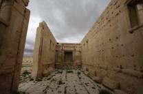 L'interno del tempio di Baal, nel sito archeologico di Palmira, in Siria. (JOSEPH EID/AFP/Getty Images)