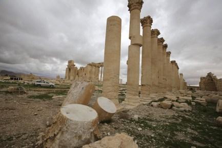 Il cortile del tempio di Baal, nel sito archeologico di Palmira, in Siria. (JOSEPH EID/AFP/Getty Images)