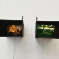 Black boxes, wood, photographies, painting,2014