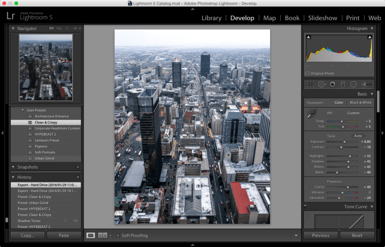 Lightroom Presets Develop Screenshot