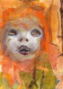 Mixed Media Collage - Creepy Dolly