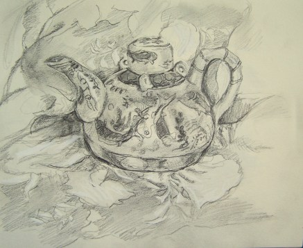 drawing-tea-pot-on-patterned-cloth-c-1996