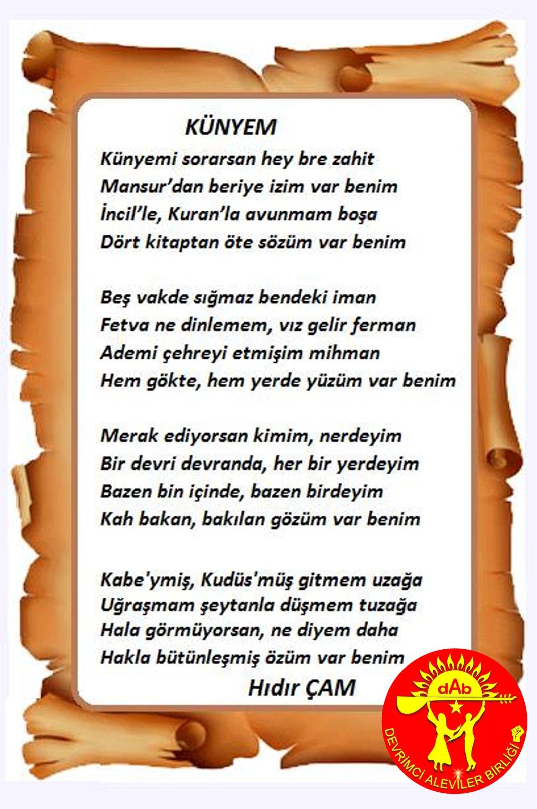 Alevi Bektaşi Kızılbaş Pir Sultan Devrimci Aleviler Birliği DAB künye