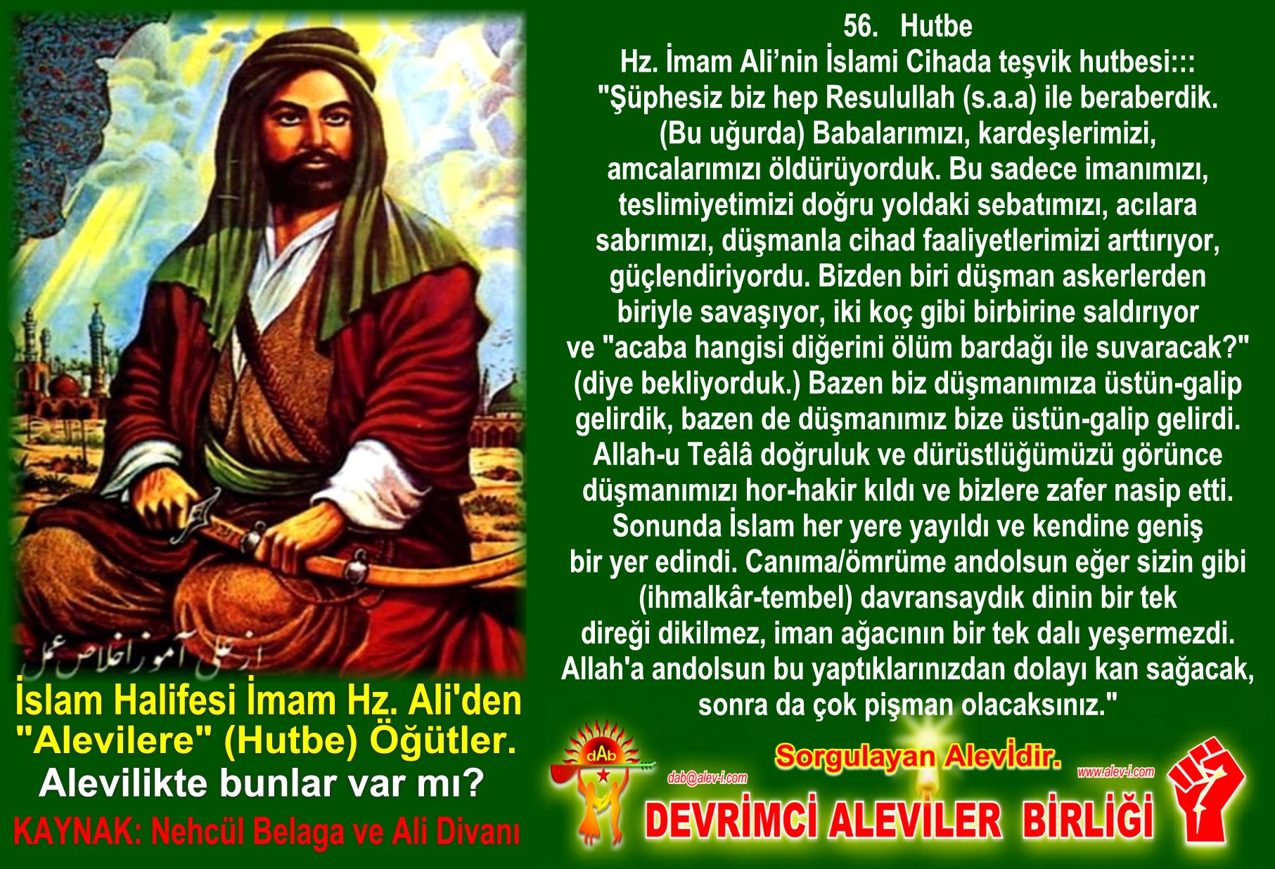 Devrimci Aleviler Birliği DAB Alevi Kızılbaş Bektaşi pir sultan cem hz Ali 12 imam semah Feramuz Şah Acar halife imam hz ali den hutbe ogut inciler 7