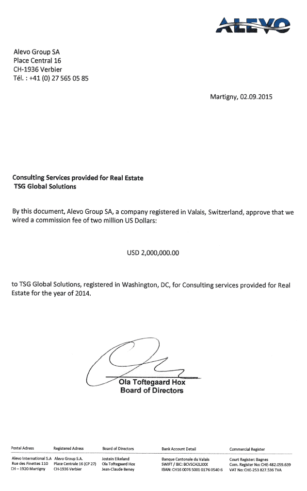 Confirmation (to auditors) of $2 million paid to TSG