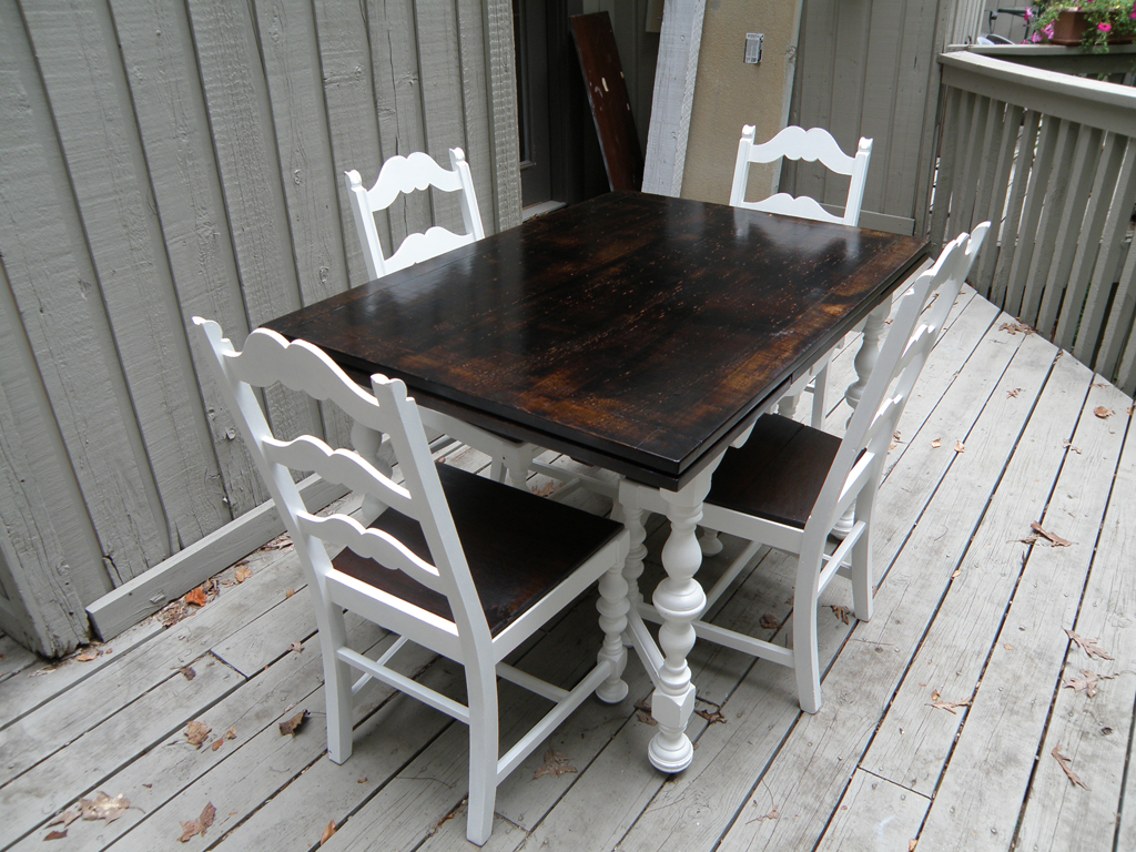 rustic wood kitchen table and chairs rocking chair stainless steel makeover alewood