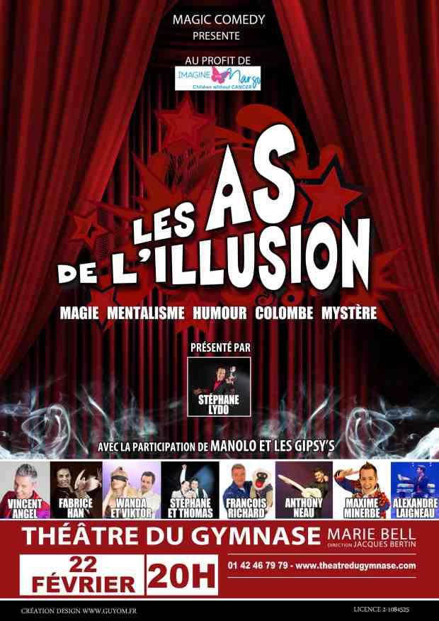Affiche théâtre du gymanse Paris - Les as de l'illusion