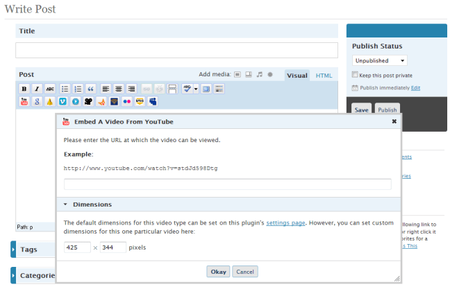 TinyMCE, the plugin's buttons, and the plugin's dialog window