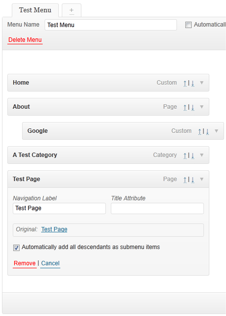An example menu and the checkbox this plugin adds