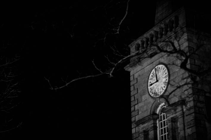 Photo of a church clock tower at night in Ballycastle - taken by Alex Leonard