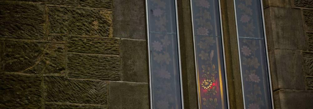 Backlit stained glass - Ballycastle - photo by Alex Leonard