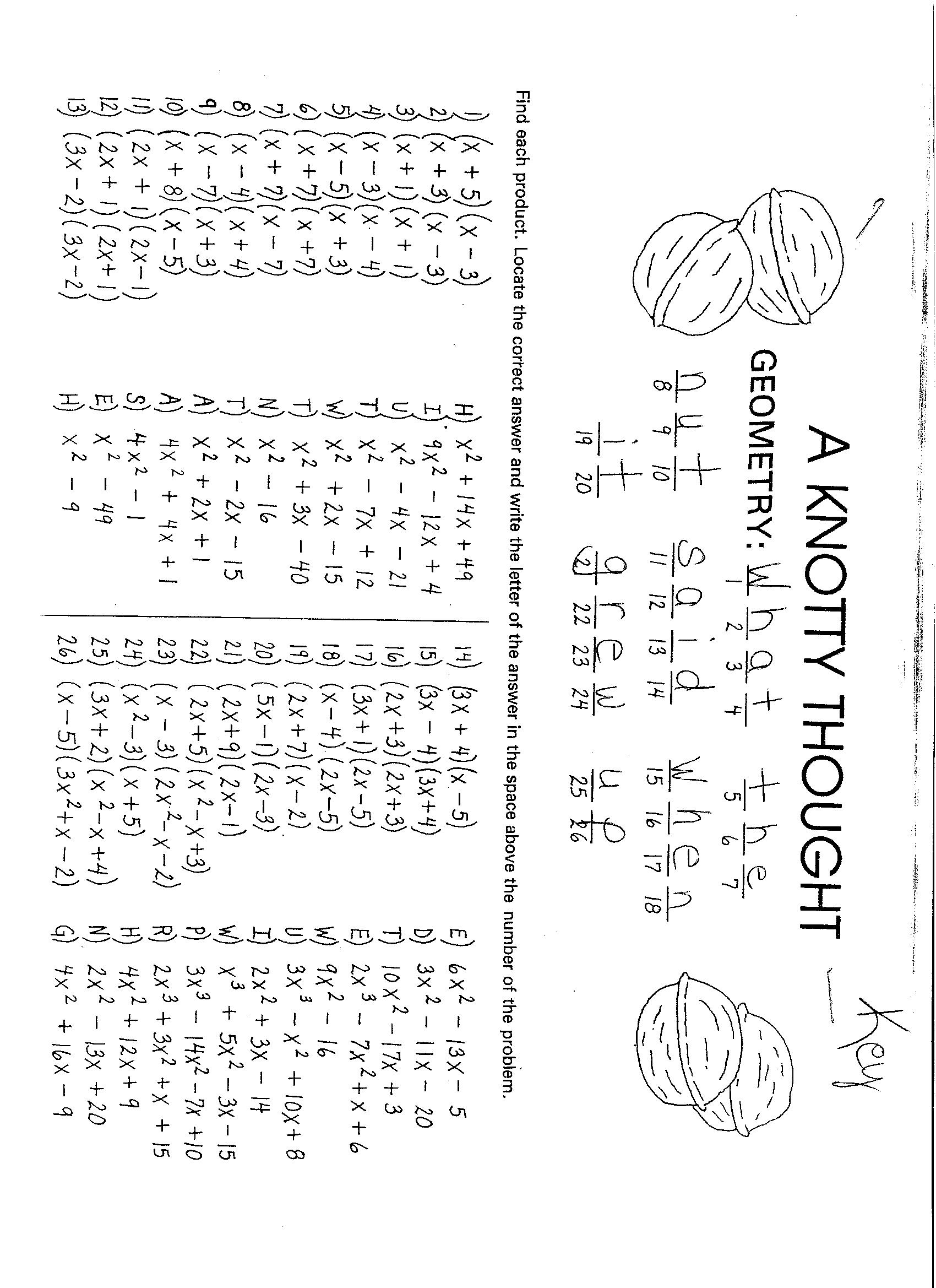 Multiplying Polynomials Worksheet Word Problems