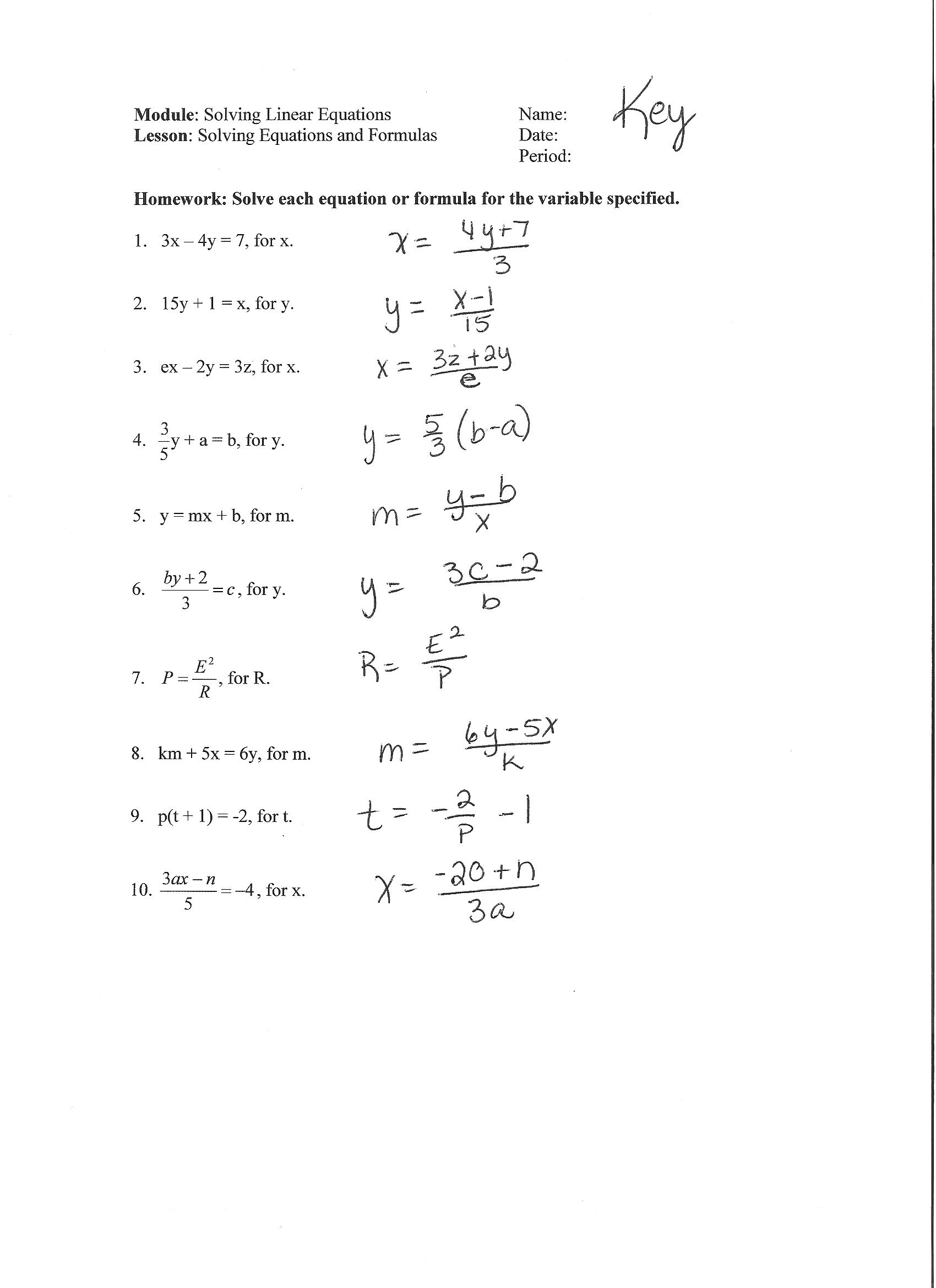 Solving For Y Worksheet Key