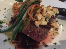 Beef Medallions with Garlic Mashed Potatoes, Haystax Vegetables, and Blue Cheese, with Mushroom Demi Glace - Biscotti's