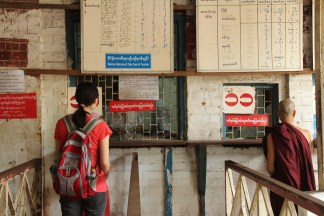 At the Central Railway Station- Shinyi's first attempt to get us overnight tickets to Mandalay the next day.