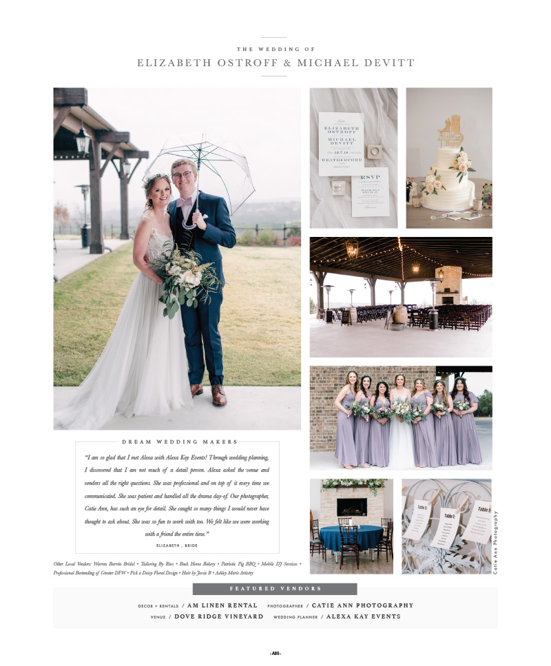 Mauve and Navy wedding at Dove Ridge Vineyard - Weatherford,Texas Wedding | Alexa Kay Events | Fort Worth Wedding Planner Brides of North Texas Feature