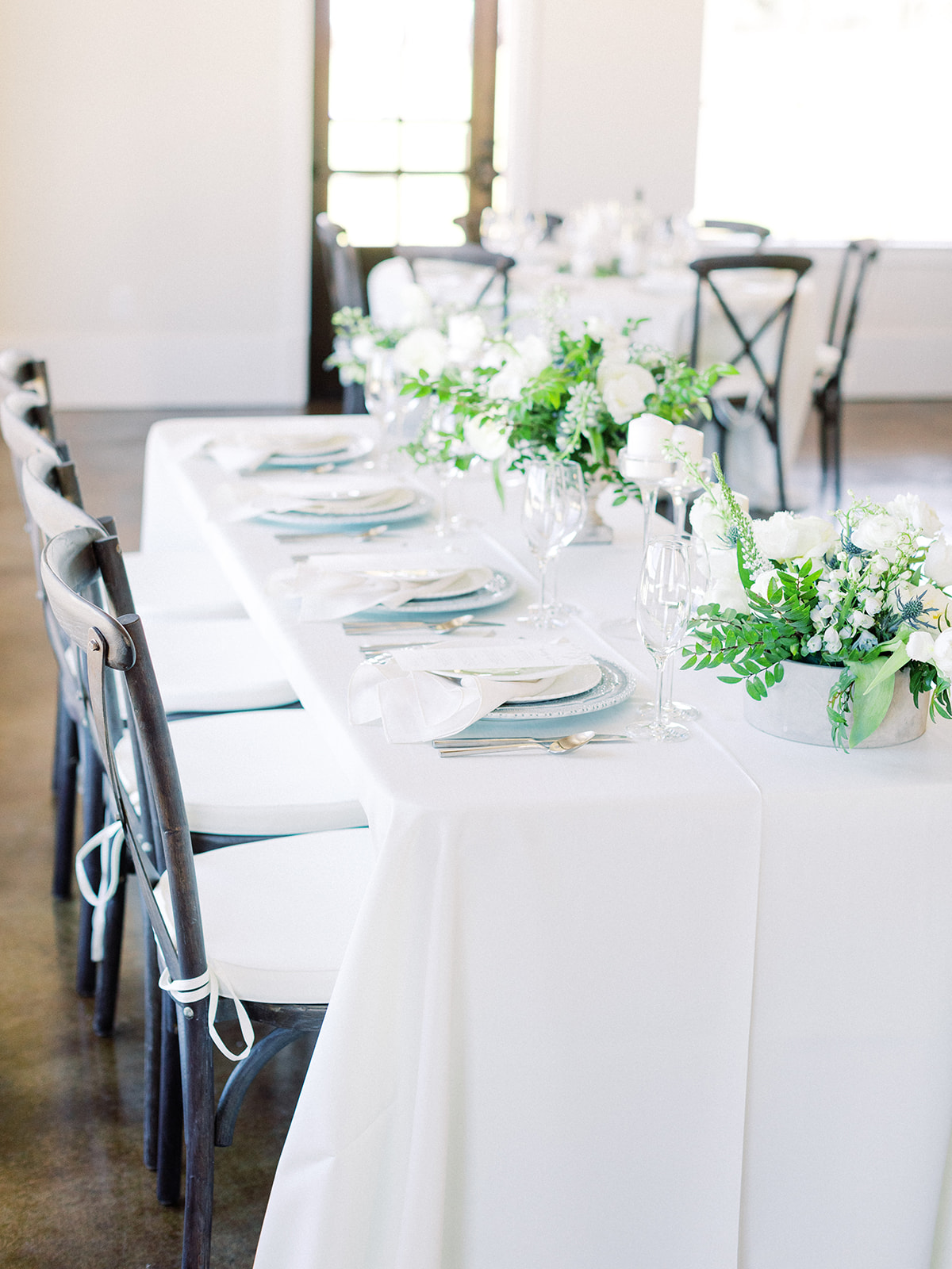Simple wedding tablescape with greenery: Elopement vineyard wedding at Umbra Winery by Alexa Kay Events. See more wedding ideas at alexakayevents.com!