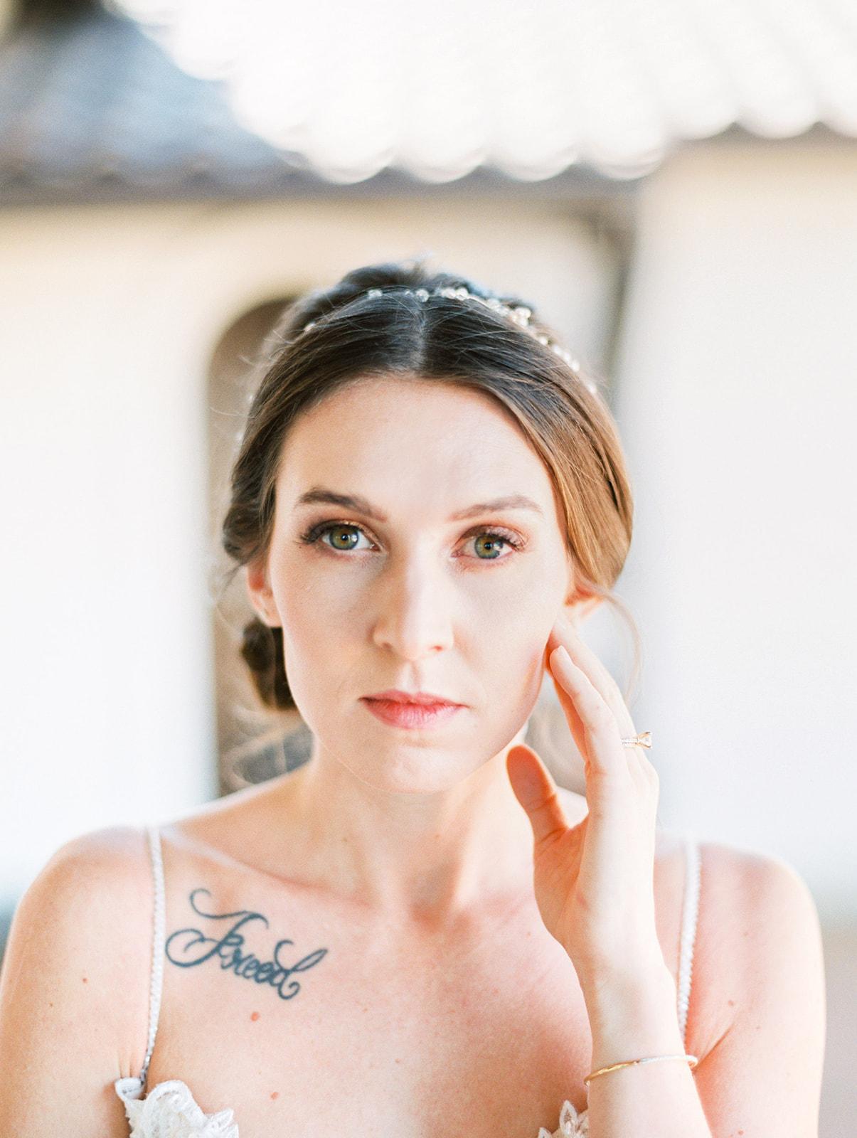Simple bridal makeup: Elopement vineyard wedding at Umbra Winery by Alexa Kay Events. See more wedding ideas at alexakayevents.com!