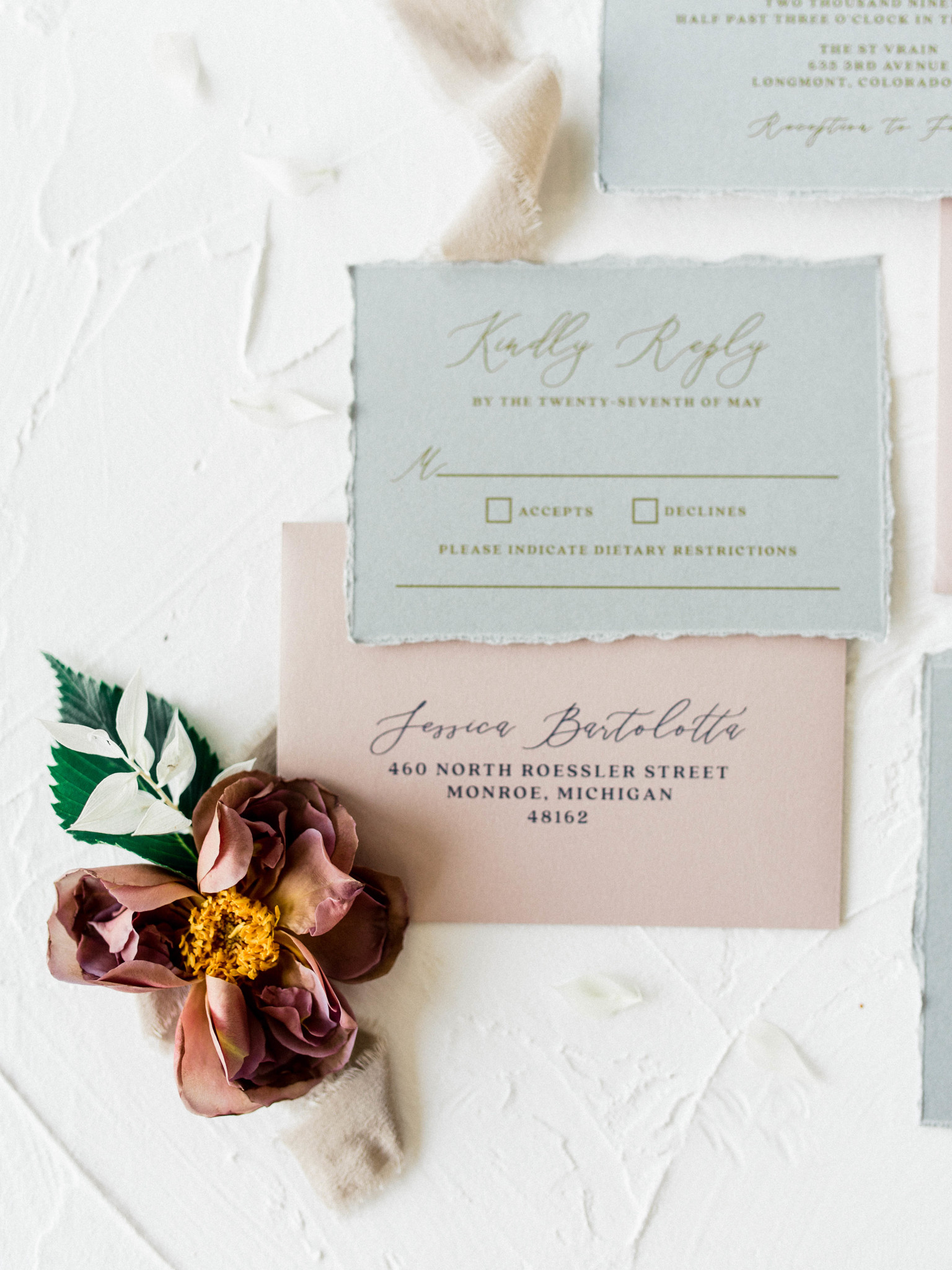 Wedding invitation suite: Whimsical mauve wedding inspiration on Alexa Kay Events. See more romantic wedding ideas at alexakayevents.com!
