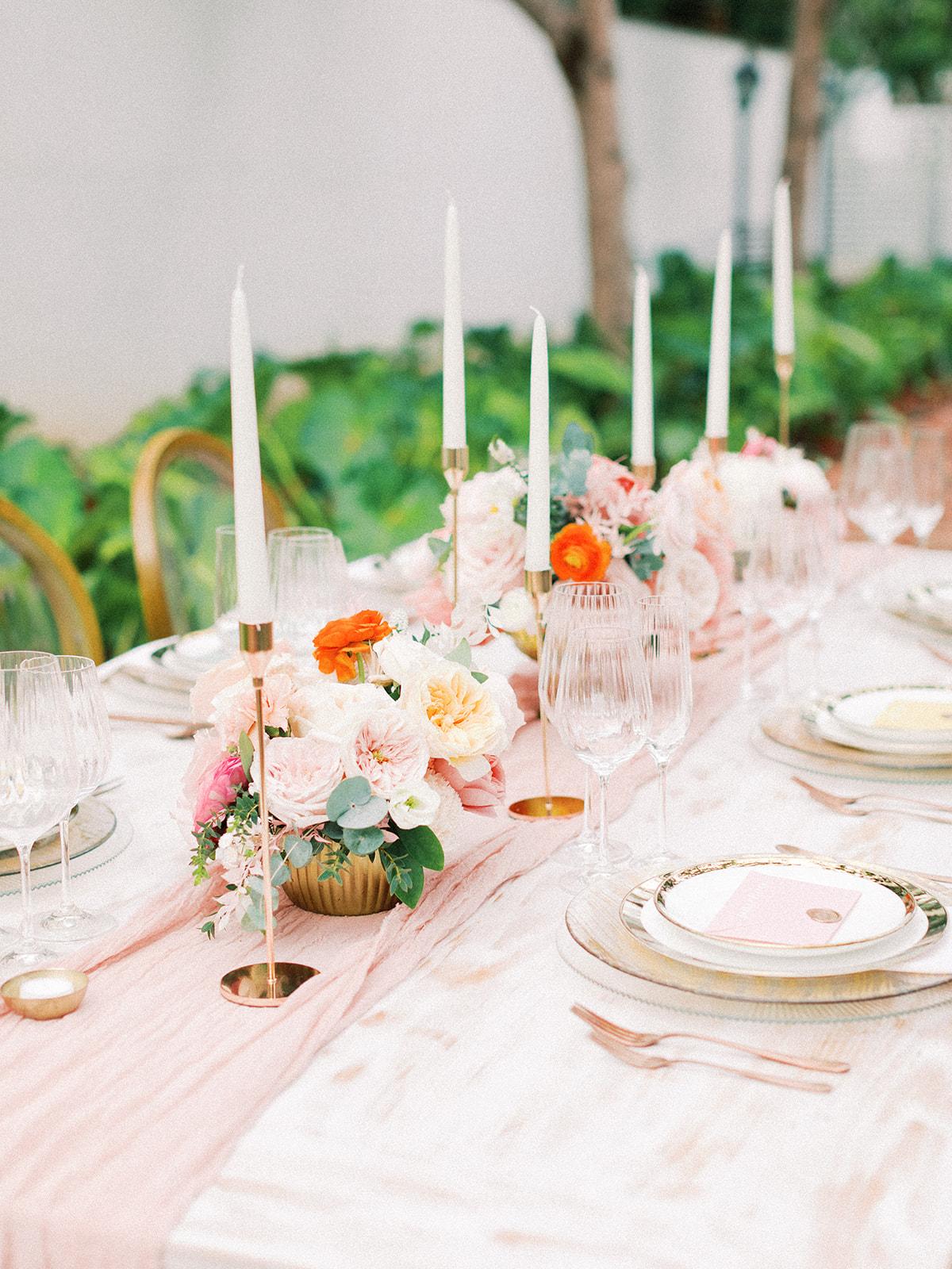 Pink wedding table runner: Beach Wedding Inspiration | Dominican Republic