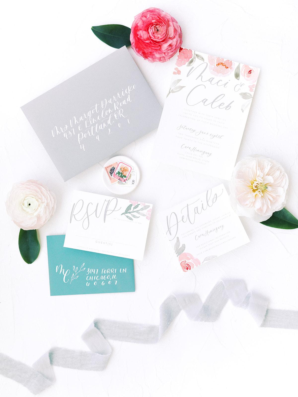 Beach wedding invitation suite: Beach Wedding Inspiration | Dominican Republic
