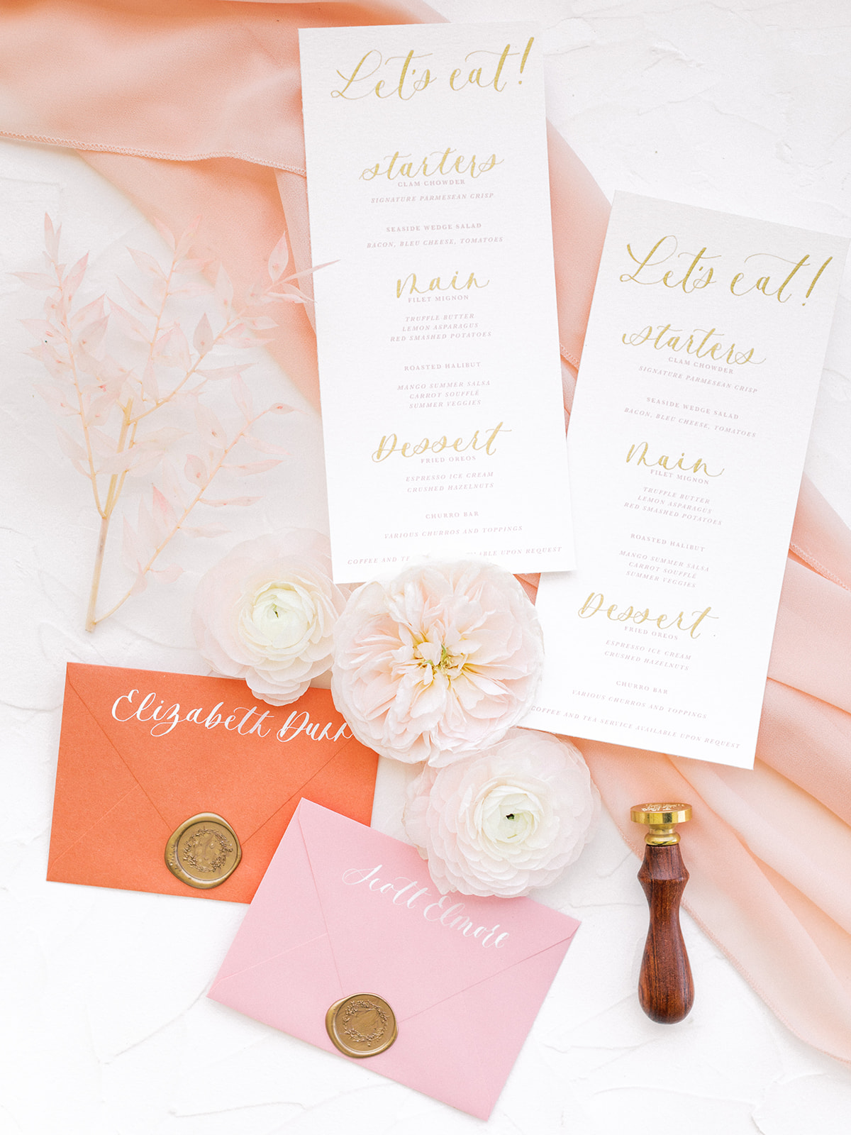 Pink and orange wedding stationery: Beach Wedding Inspiration | Dominican Republic