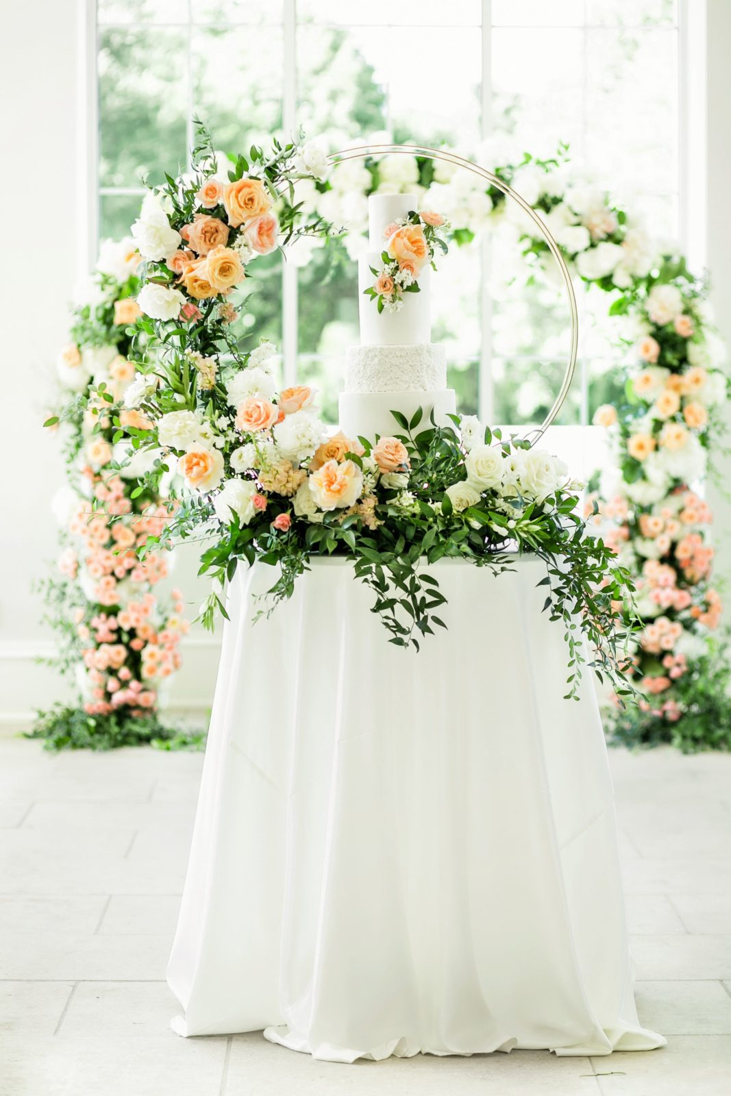 Wedding floral arch and cake table design: Sophisticated and Chic wedding inspiration on Alexa Kay Events