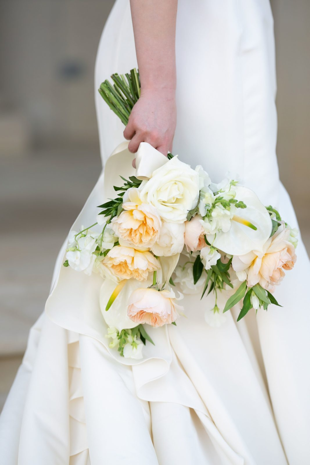 Ivory and peach bridal bouquet: Sophisticated and Chic wedding inspiration on Alexa Kay Events