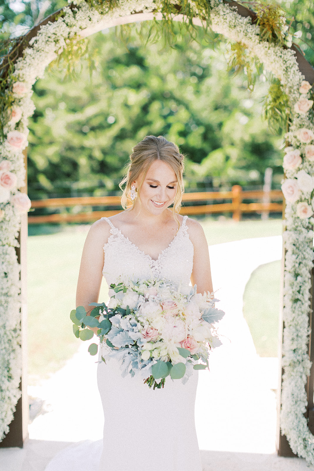 Spring bridal bouquet design: | Romantic blue Texas wedding at Spring Venue by Alexa Kay Events