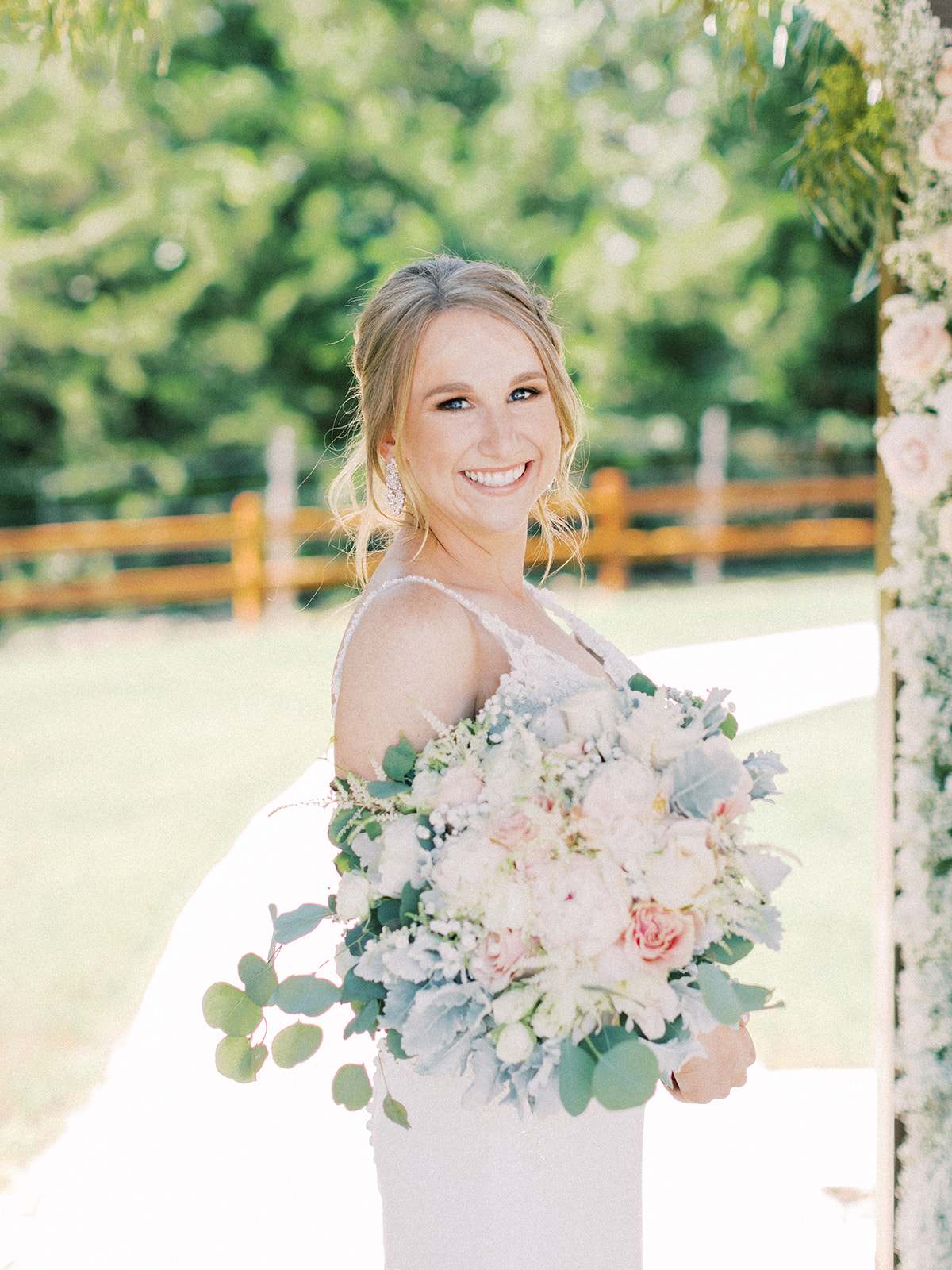 Blush and baby blue wedding bouquet: | Romantic blue Texas wedding at Spring Venue by Alexa Kay Events