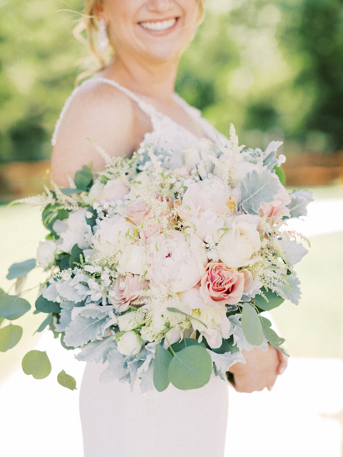 Pastel wedding bouquet: | Romantic blue Texas wedding at Spring Venue by Alexa Kay Events