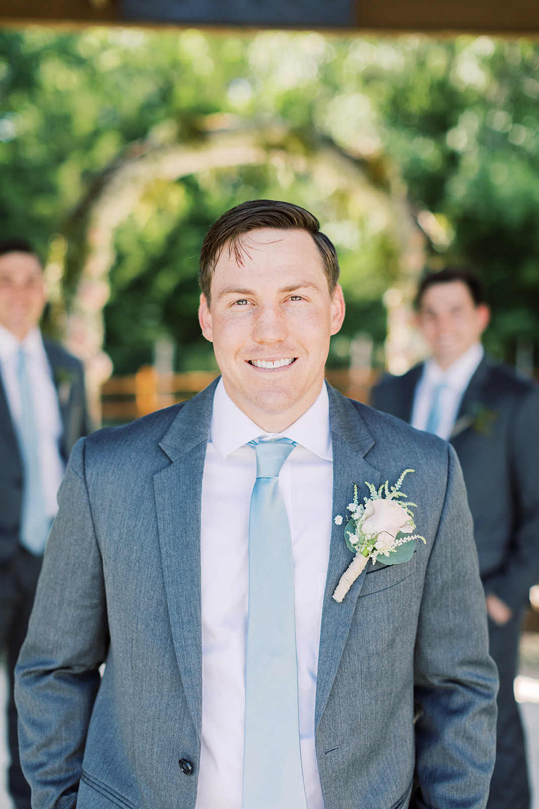 Grooms portrait: | Romantic blue Texas wedding at Spring Venue by Alexa Kay Events