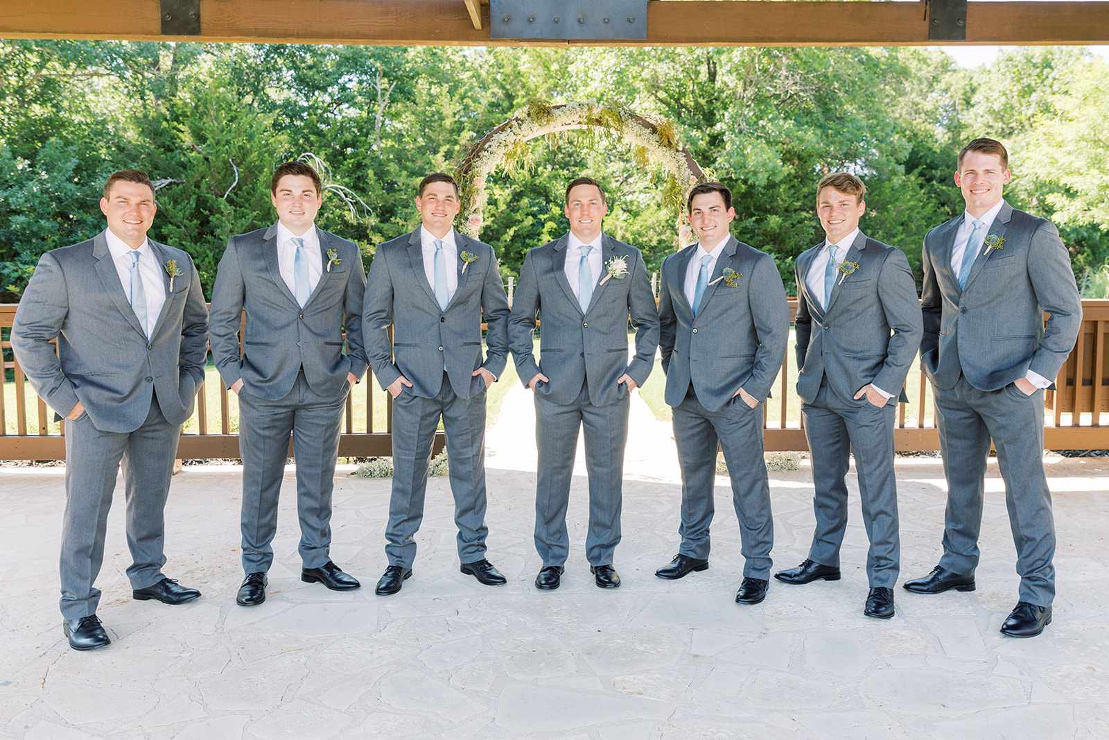 Gray wedding tuxedos: | Romantic blue Texas wedding at Spring Venue by Alexa Kay Events