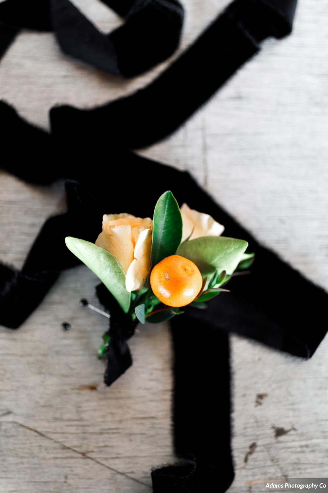 Wedding boutonniere: Black, White, and Gold Modern Wedding Inspiration featured on Alexa Kay Events