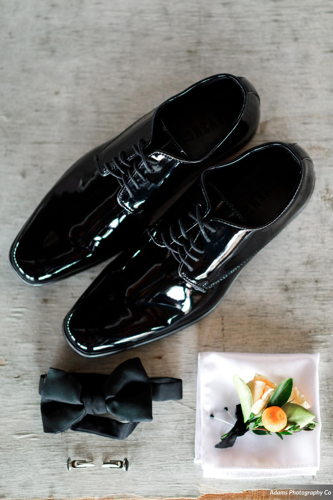 Grooms shoes: Black, White, and Gold Modern Wedding Inspiration featured on Alexa Kay Events