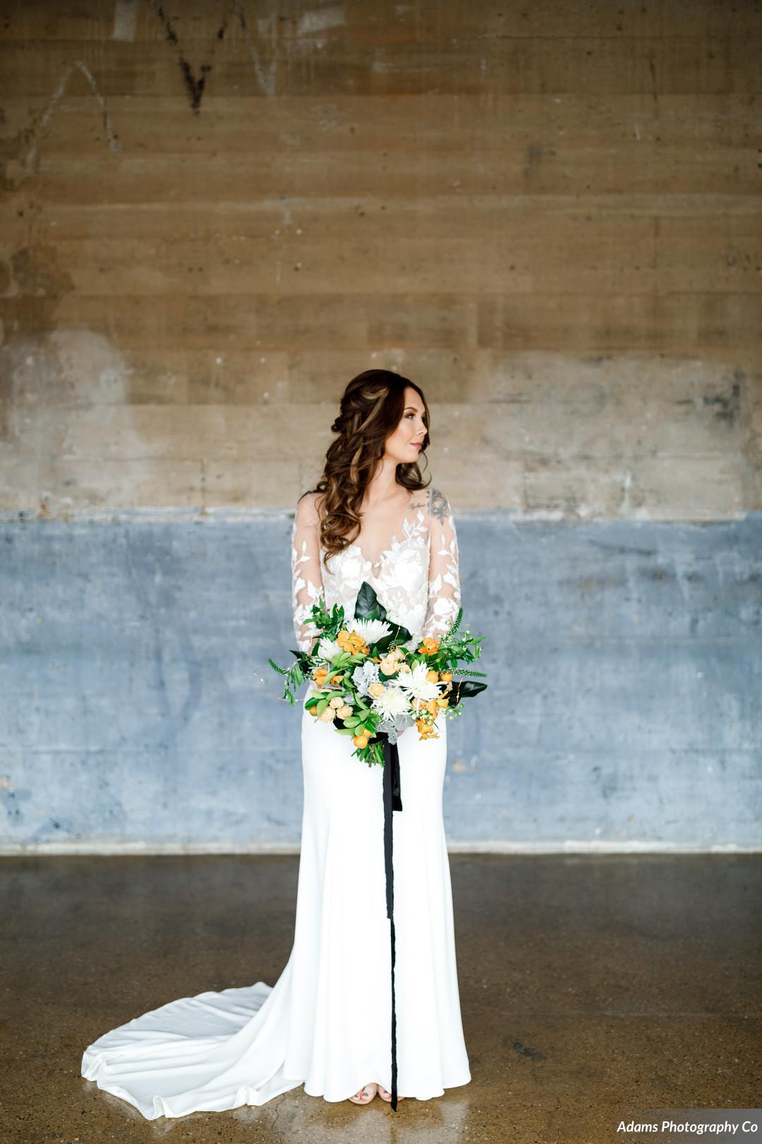 Bridal portrait: Black, White, and Gold Modern Wedding Inspiration featured on Alexa Kay Events