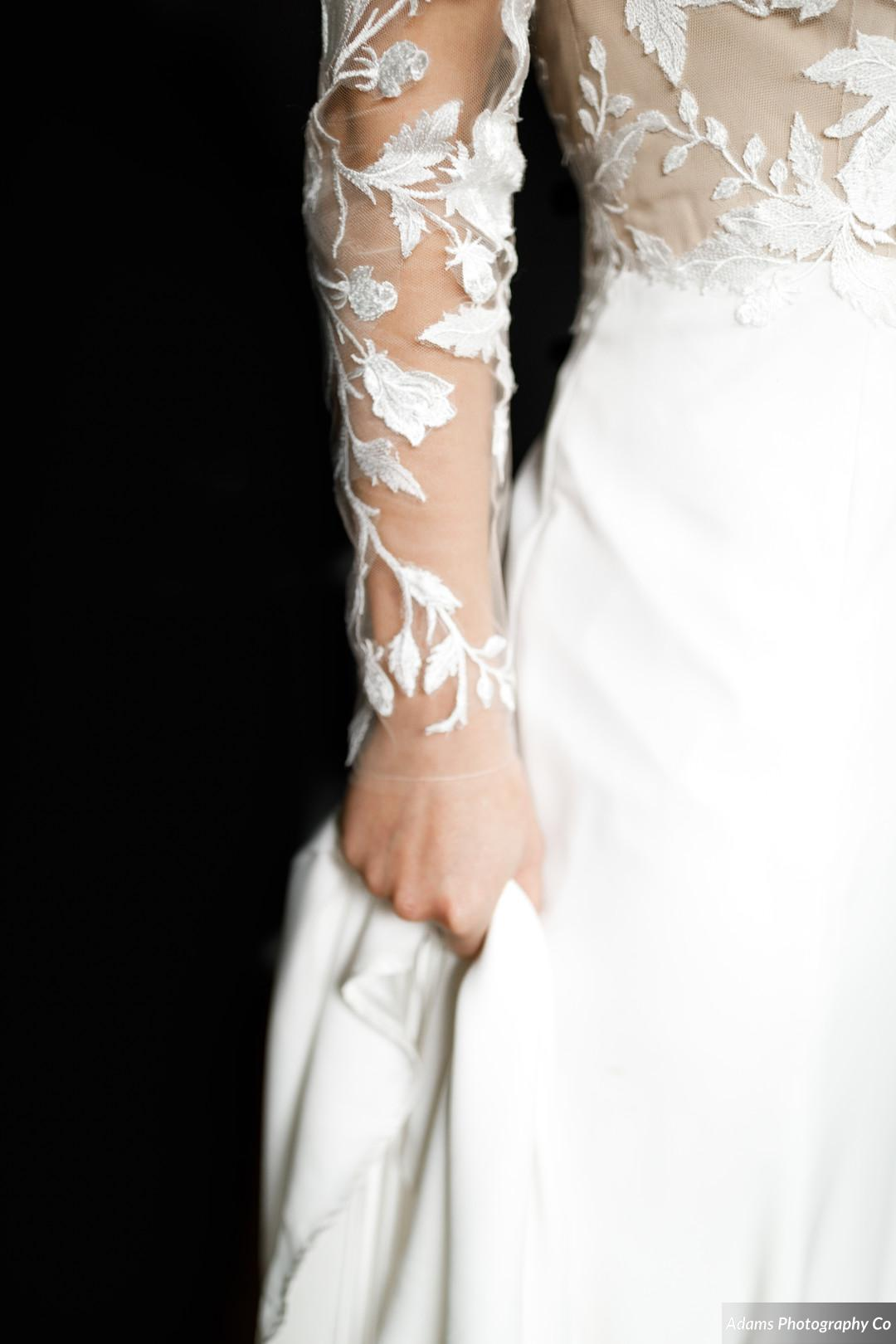 Wedding dress details: Black, White, and Gold Modern Wedding Inspiration featured on Alexa Kay Events
