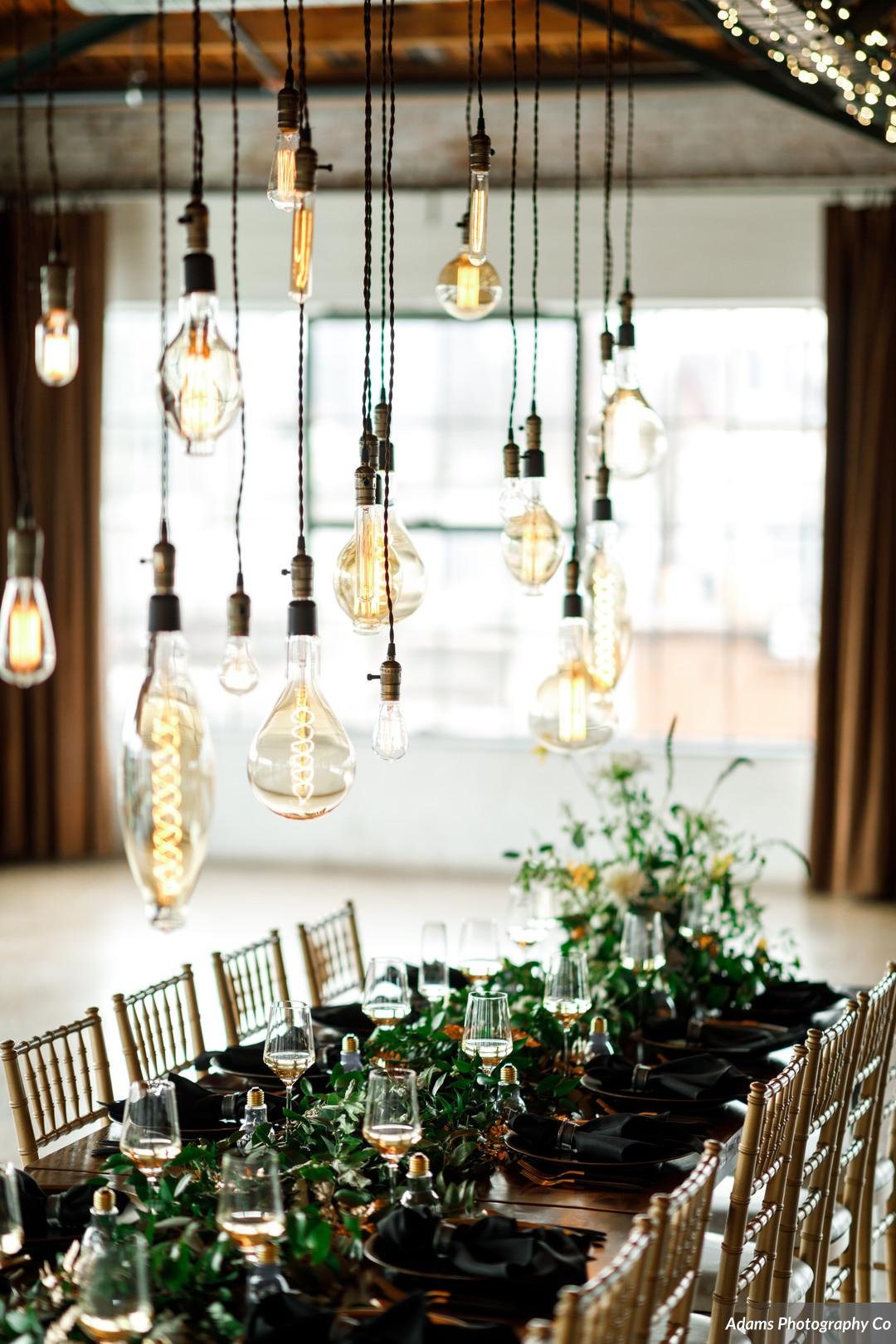 Industrial wedding lighting: Black, White, and Gold Modern Wedding Inspiration featured on Alexa Kay Events