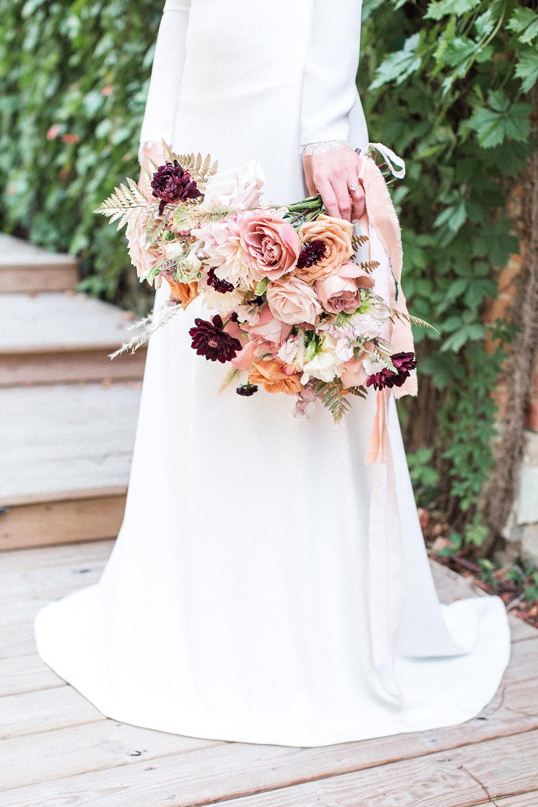 Feminine wedding bouquet design: Fall Garden Wedding featured on Alexa Kay Events