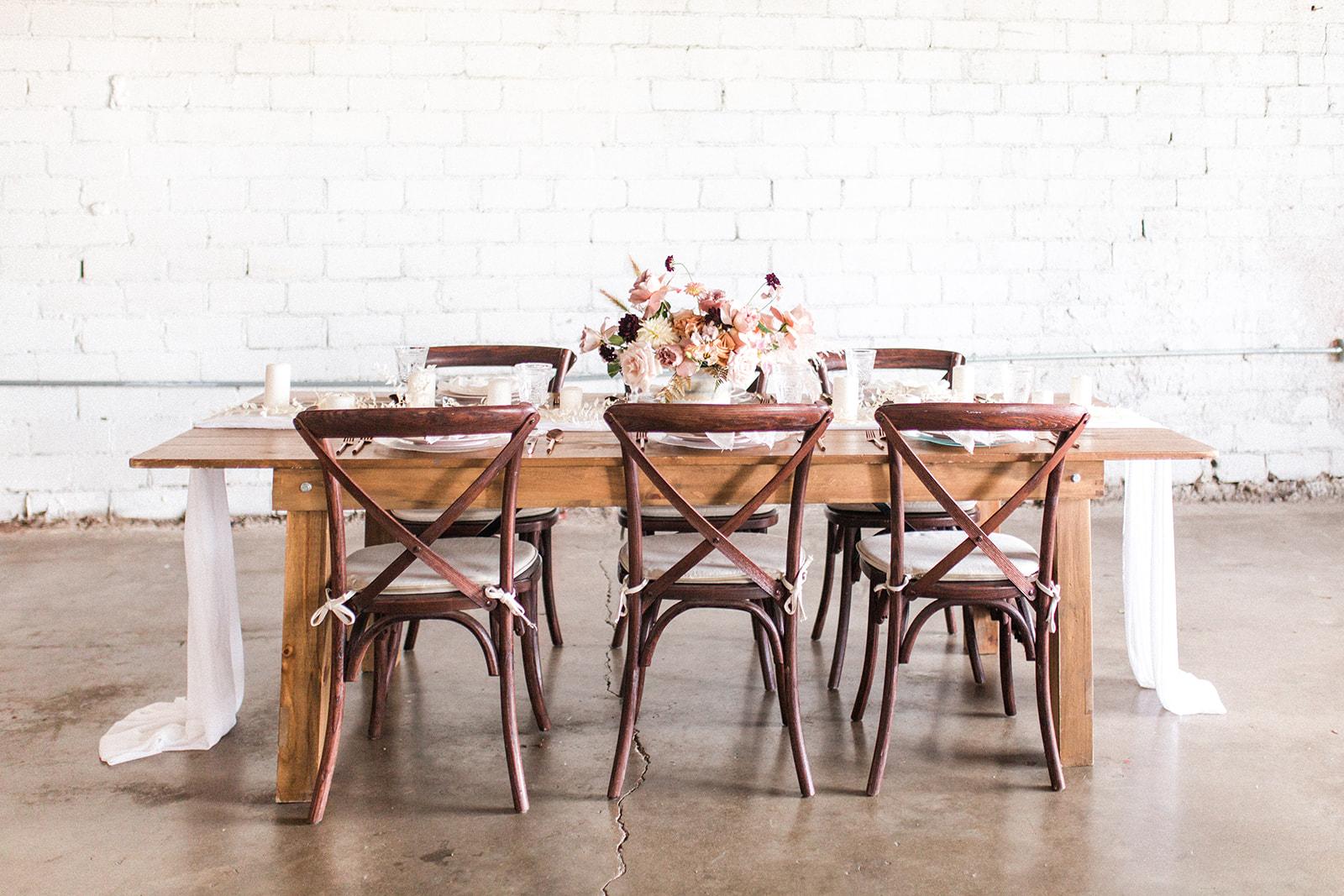 Warehouse wedding tablescape: Fall Garden Wedding featured on Alexa Kay Events