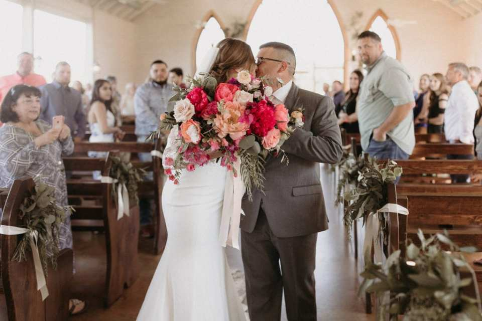 Wedding ceremony exit: Intimate and Charming Wedding featured on Alexa Kay Events blog