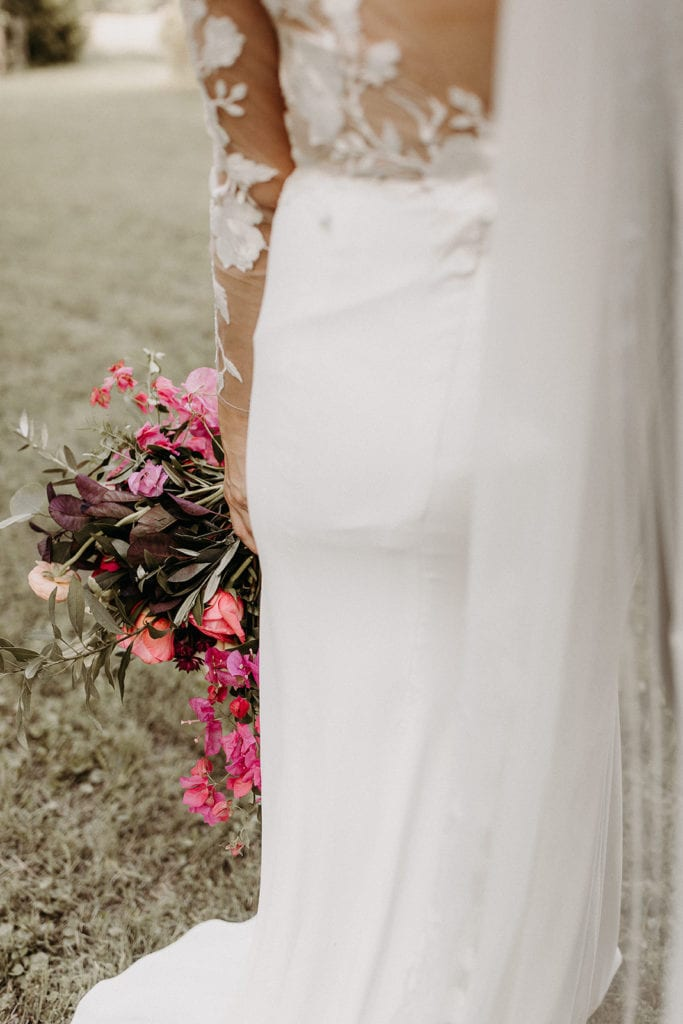 Peach and pink wedding bouquet: Intimate and Charming Wedding featured on Alexa Kay Events blog