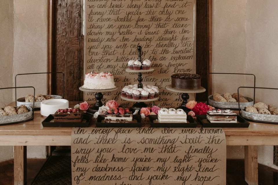 Wedding dessert table: Intimate and Charming Wedding featured on Alexa Kay Events blog