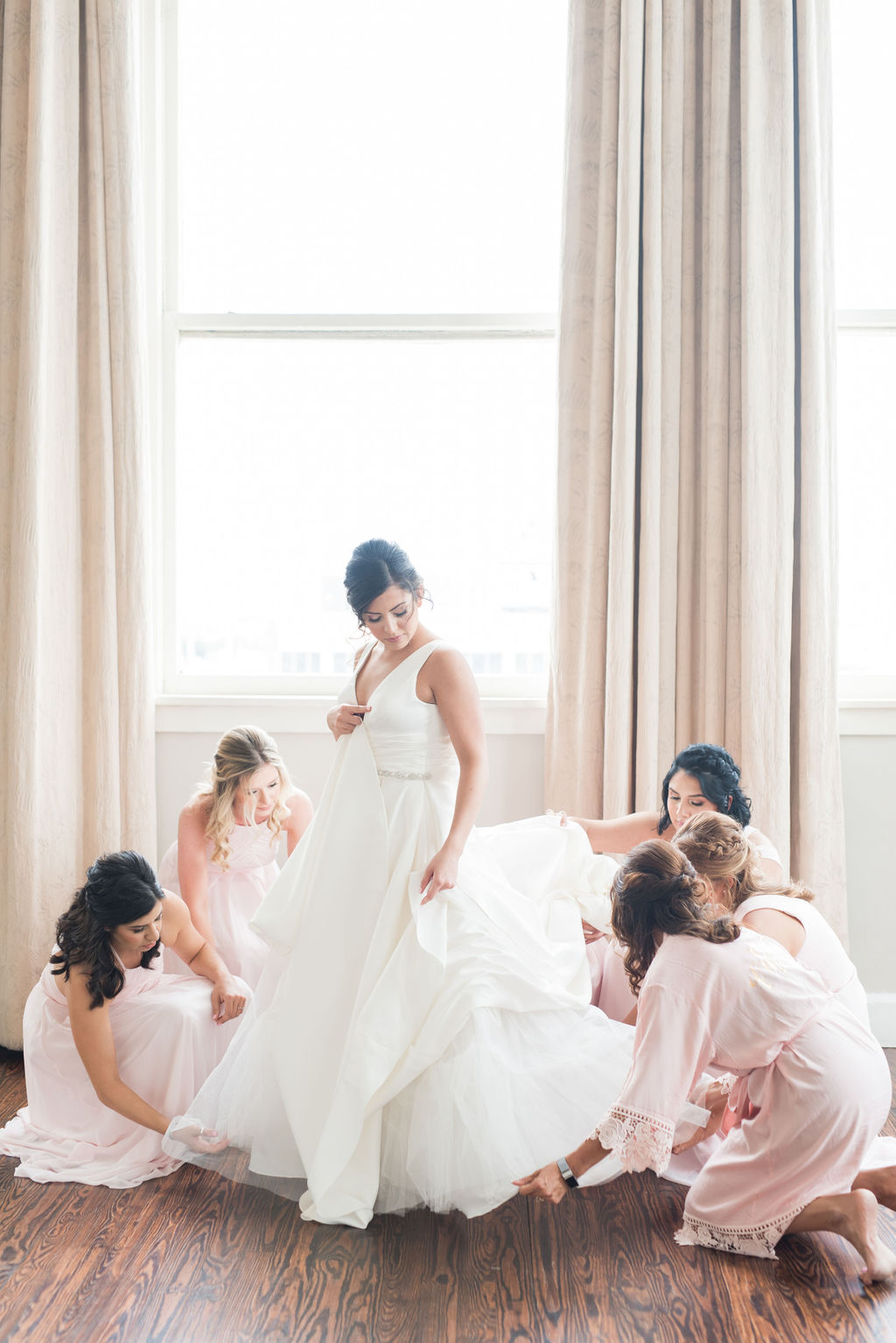 Bridal party photo ideas: Dusty Blue and Blush Wedding at The Room on Main featured on Alexa Kay Events!