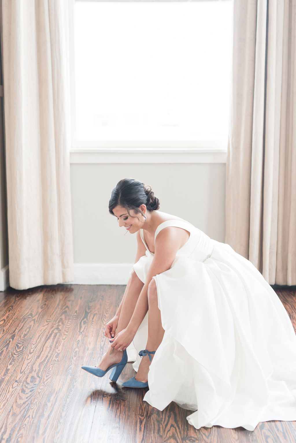 Bridal portrait: Dusty Blue and Blush Wedding at The Room on Main featured on Alexa Kay Events!