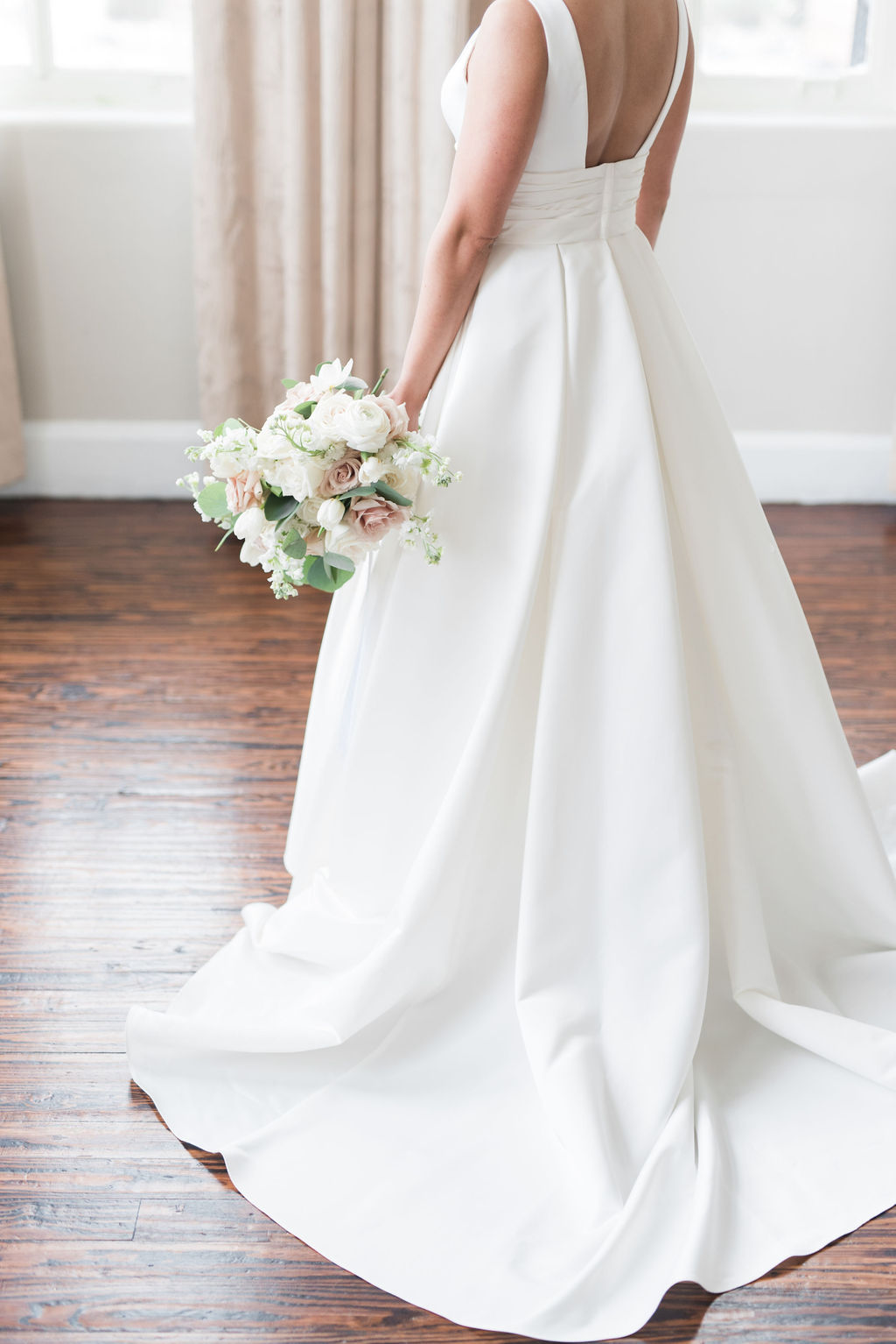 David's Bridal wedding dress: Dusty Blue and Blush Wedding at The Room on Main featured on Alexa Kay Events!
