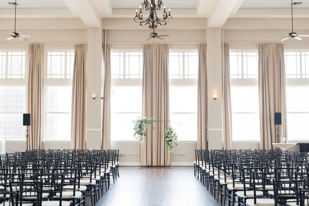 The Room on Main wedding: Dusty Blue and Blush Wedding at The Room on Main featured on Alexa Kay Events!