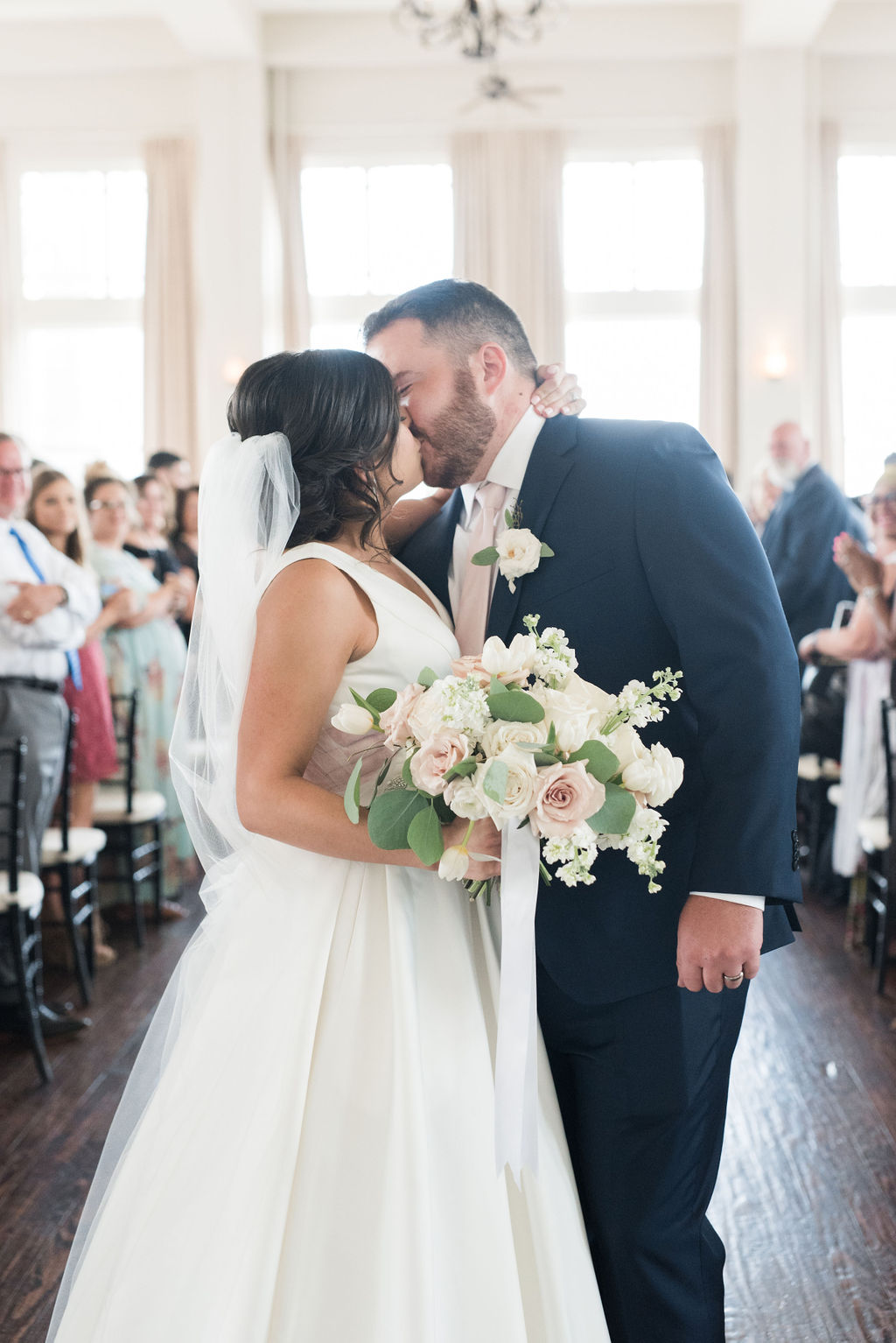 Bride and groom: Dusty Blue and Blush Wedding at The Room on Main featured on Alexa Kay Events!