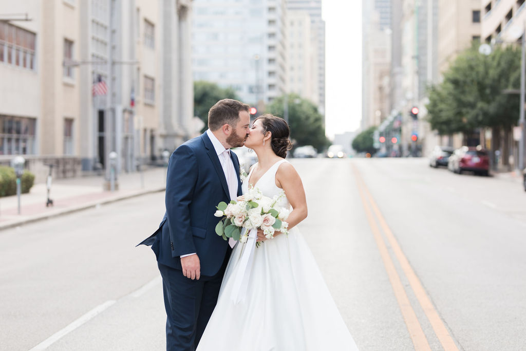 DFW Wedding photos: Dusty Blue and Blush Wedding at The Room on Main featured on Alexa Kay Events!
